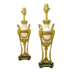 Antique Pair French Regency Grand Tour Ormolu Gilt Bronz Marble Urns Table Lamps