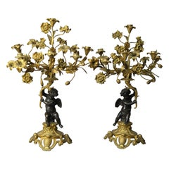 Pair of French Rococo Figural and Floral Parcel-Gilt Candelabra, 19th Century