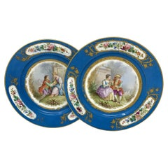 Antique Pair French Sevres Hand Painted Celeste Blue Circular Cabinet Plates 19C