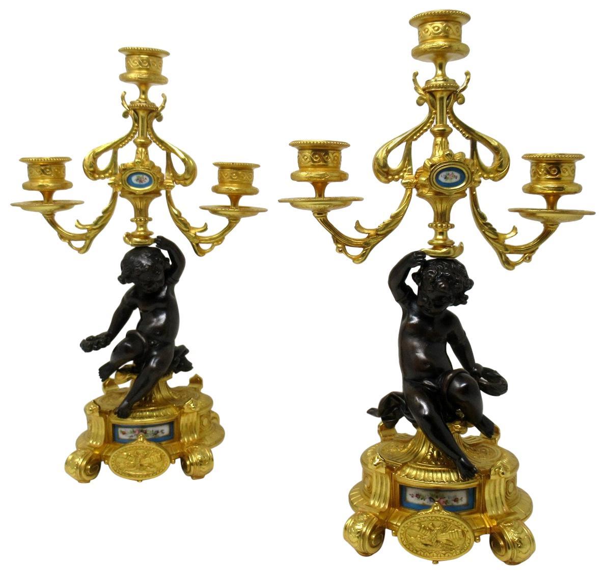 Antique Pair of Sèvres Porcelain Gilt Bronze Cherub Candelabra Candlesticks