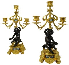 Antique Pair of Sèvres Porcelain Gilt Bronze Cherub Candelabra Candlesticks