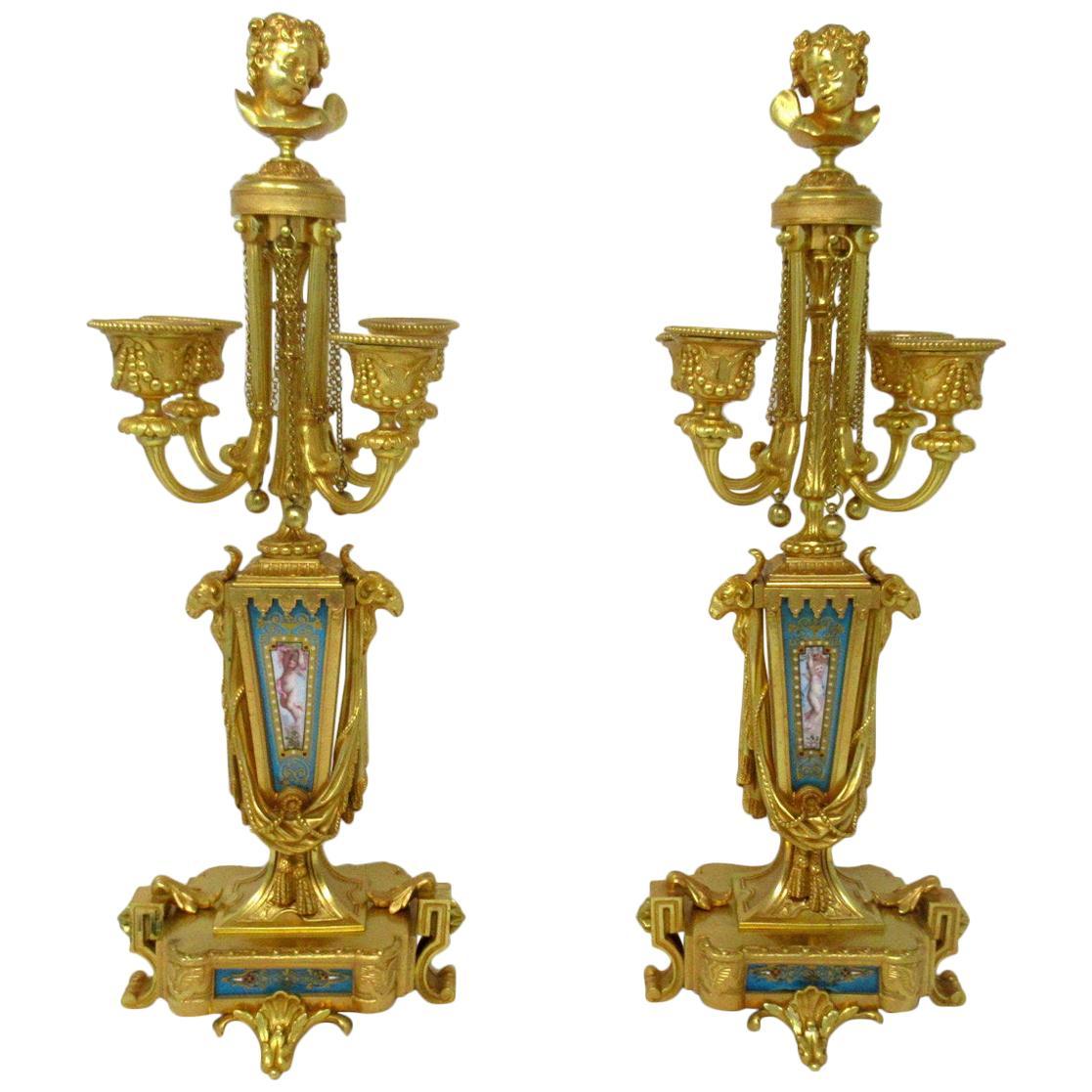 Antique French Sèvres Porcelain Ormolu Gilt Bronze Candelabra Barbedienne, Pair