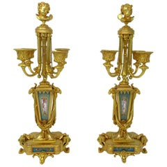 Antique French Sèvres Porcelain Ormolu Gilt Bronze Candelabra Barbedienne, Pair