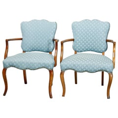 Antique Pair French Style Upholstered Fauteuil Chairs, 20th Century