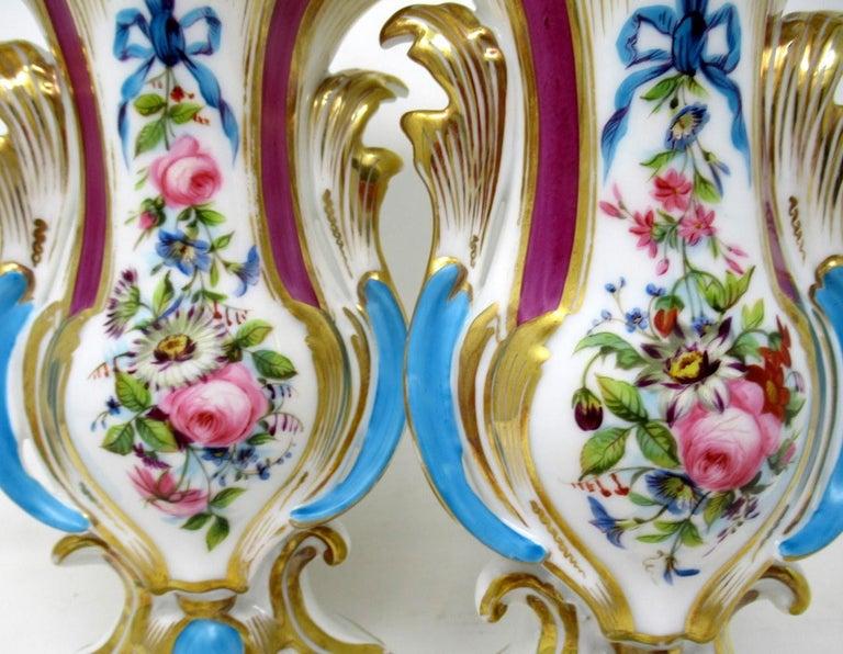 19th Century Antique French Vieux Paris Gilt Porcelain Vases Urns Flowers Sèvres Style, Pair