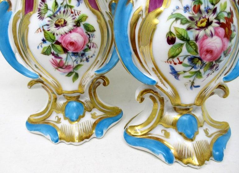 Ceramic Antique French Vieux Paris Gilt Porcelain Vases Urns Flowers Sèvres Style, Pair