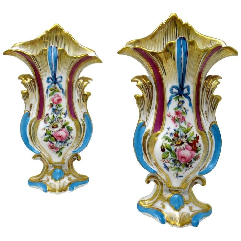 Antique French Vieux Paris Gilt Porcelain Vases Urns Flowers Sèvres Style, Pair