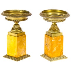 Pair of Gilt-Bronze and Sienna Marble Neoclassical Mantel Urns, 19th Century