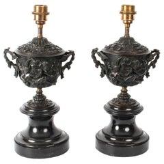 Antique Pair of Grand Tour Bronze Urn Lamps Sir David Tang, 19th Century