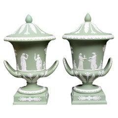 Antique Pair of Green Wedgwood Jasperware Ceramic Urns Vases Mythological Scenes