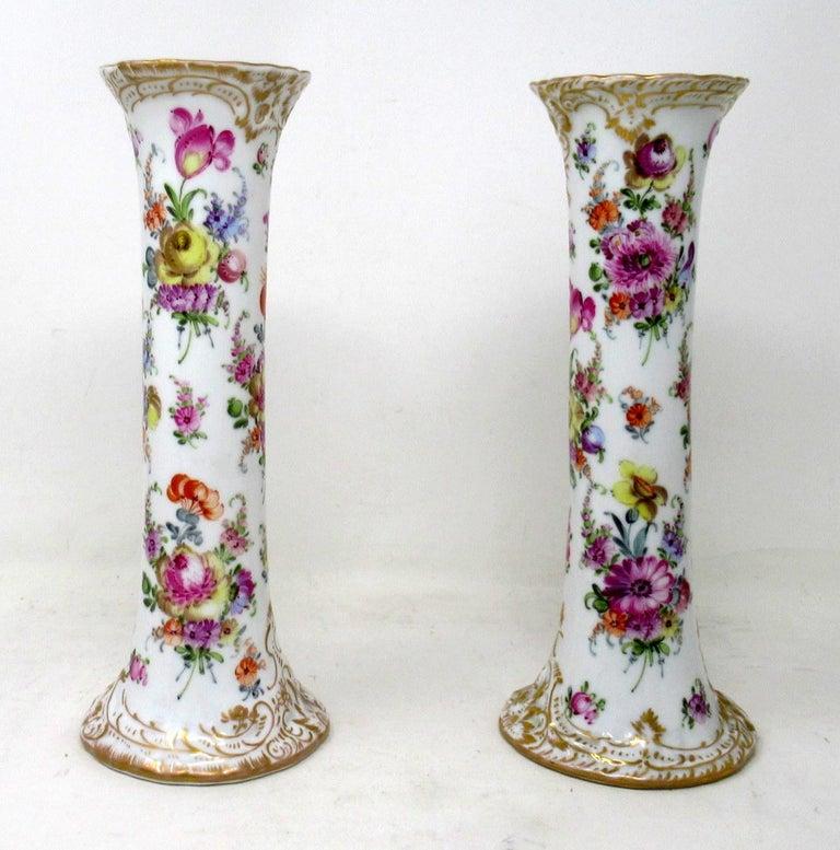 German Antique Pair Hand Decorated Meissen Dresden Vases Urns Still Life Flowers Gilt
