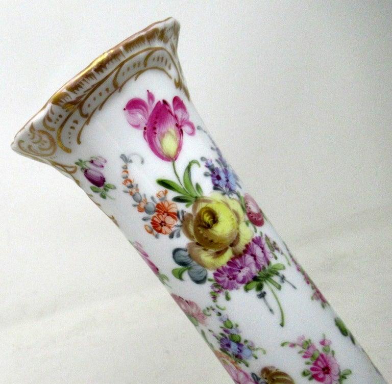 19th Century Antique Pair Hand Decorated Meissen Dresden Vases Urns Still Life Flowers Gilt