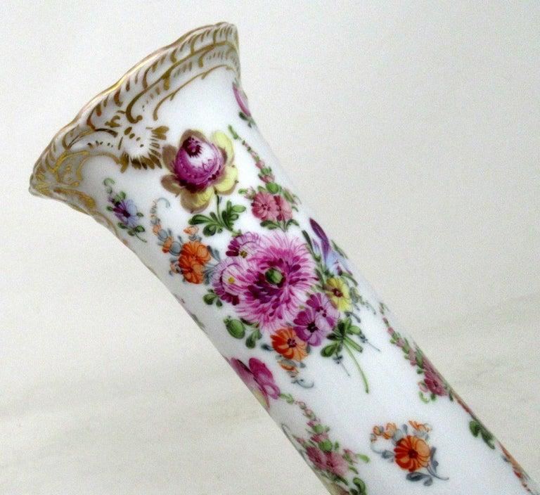 Antique Pair Hand Decorated Meissen Dresden Vases Urns Still Life Flowers Gilt 1