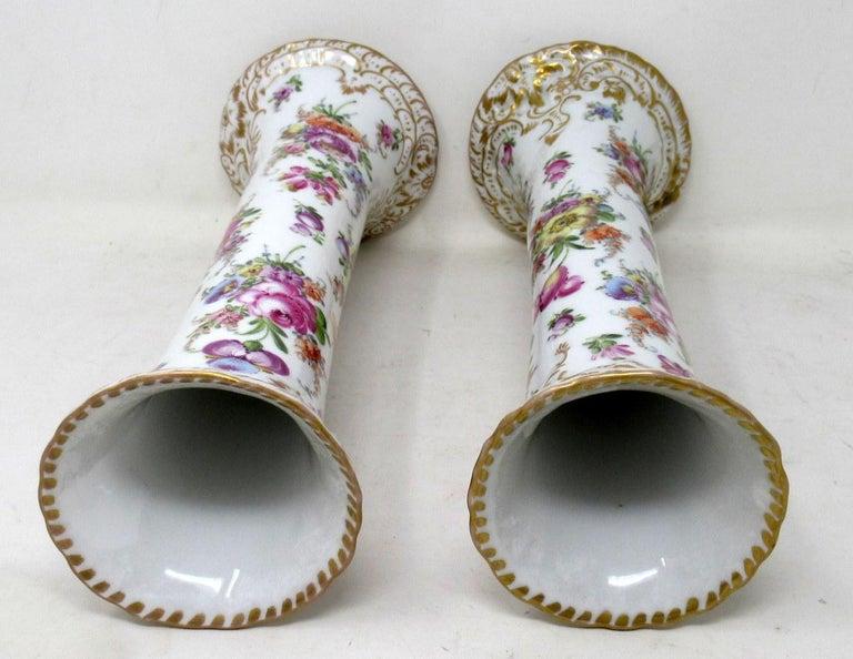 Antique Pair Hand Decorated Meissen Dresden Vases Urns Still Life Flowers Gilt 2