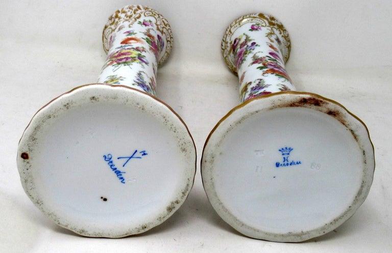 Antique Pair Hand Decorated Meissen Dresden Vases Urns Still Life Flowers Gilt 3