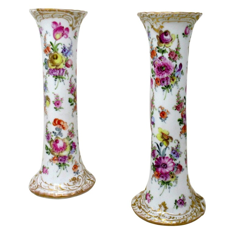 Antique Pair Hand Decorated Meissen Dresden Vases Urns Still Life Flowers Gilt