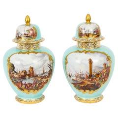 Antique Pair Helena Wolfsohn Dresden Porcelain Vases Provenance 19th Century