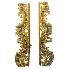Antique Pair High Quality Carved and Gilded Wood Pilasters, 17th Century, Italy