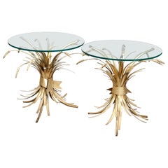 Pair of Hollywood Regency Gilt Metal Wheat Form Side Tables, Early 20th Century