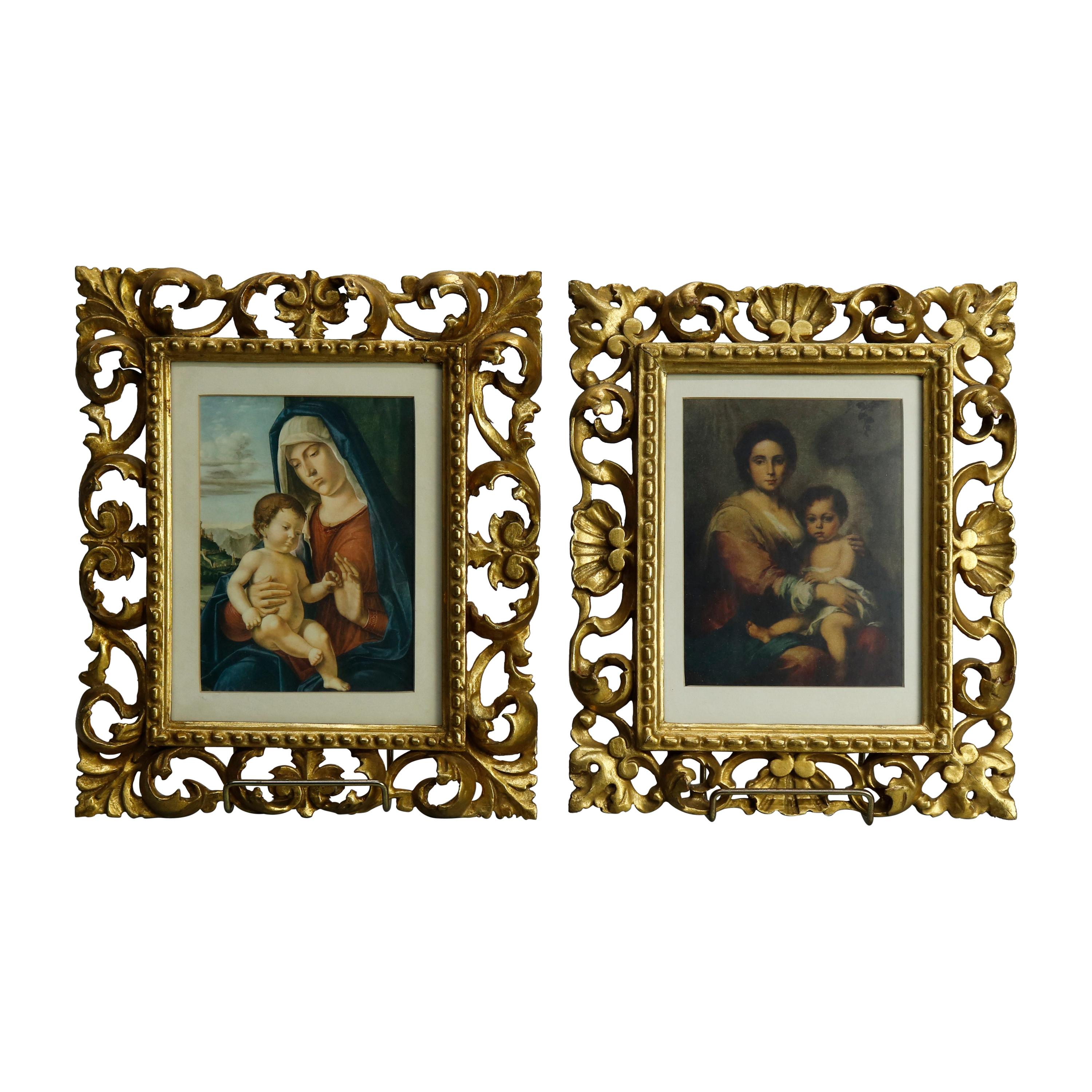 Antique Pair Italian Giltwood Reticulated Frames & Old Master Prints, c1890