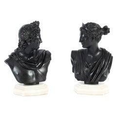 Antique Pair Italian Grand Tour Bronze Busts Apollo & Diana, 19th C