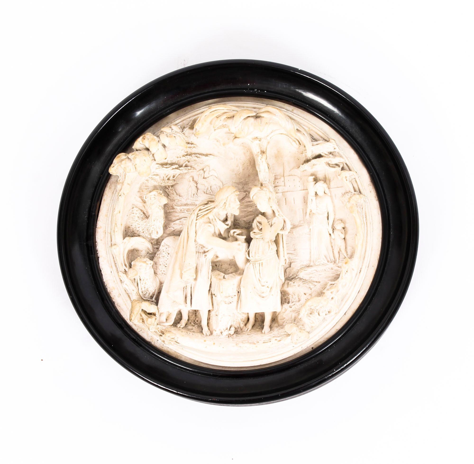 Stunning classical Lady Horse Theme Grand Tour Intaglio gem wall decor plaque