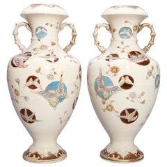Antique Pair of Japanese Satsuma Aesthetic Porcelain Vases, circa 1870