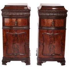 Antique Pair Large Carved Mahogany Bow Front Cupboards