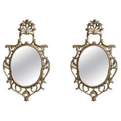 Antique Pair Large French Louis XIV Giltwood Wall Mirrors, 19th Century