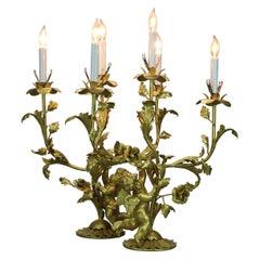 Antique Pair Large Neoclassical Gilt Cherub & Foliate Candelabra Lamps, c1920