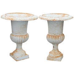Antique Pair of Large Neoclassical Painted Cast Iron Garden Urns, 20th Century