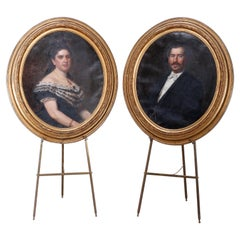 Antique Pair Large Portrait Paintings in First Finish Giltwood Frames, c1870