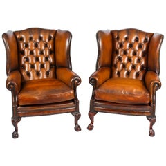 Antique Pair Leather Chippendale Wingback Armchairs, 1920s