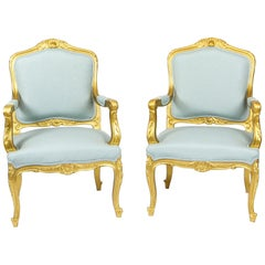 Antique Pair of Louis Revival French Giltwood Armchairs, 19th Century