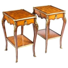 Pair of Louis Revival Kingwood Marquetry and Ormolu Side Tables, 19th Century