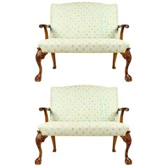 Antique Pair of Mahogany Framed Claw Foot / Camelback Settee