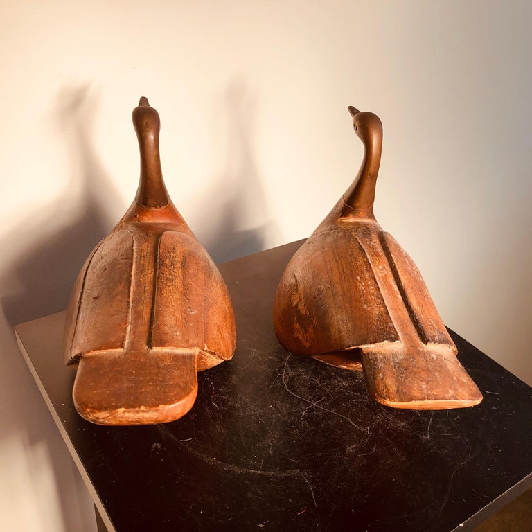 Antique Pair Mandarin Wedding Ducks, Hand Carved with Fine Details For Sale 2