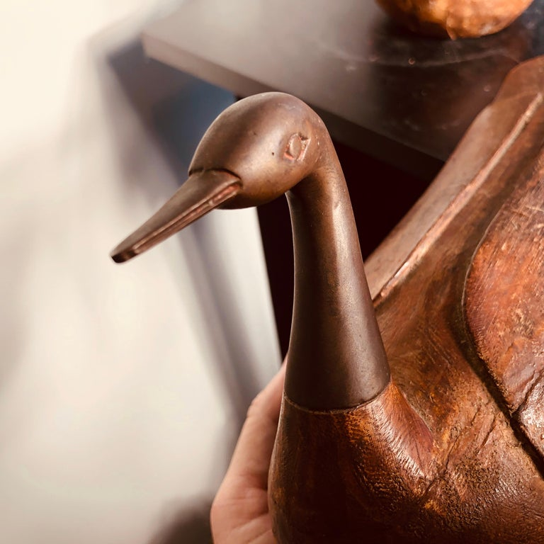Antique Pair Mandarin Wedding Ducks, Hand Carved with Fine Details For Sale 4