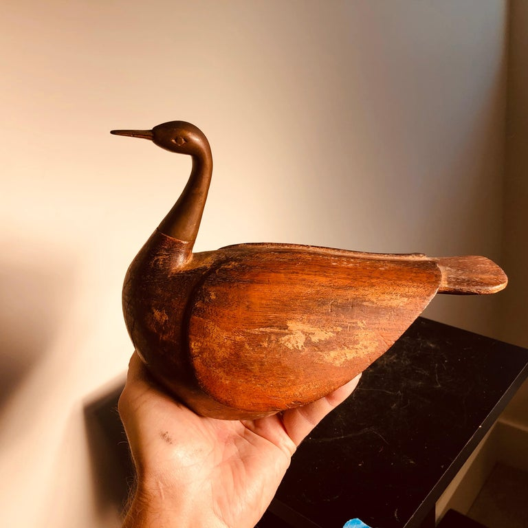Antique Pair Mandarin Wedding Ducks, Hand Carved with Fine Details For Sale 8