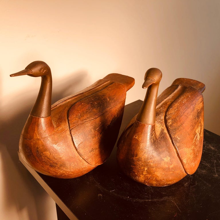 Taisho Antique Pair Mandarin Wedding Ducks, Hand Carved with Fine Details For Sale