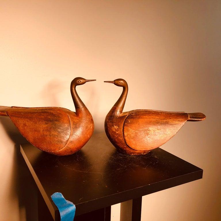 Korean Antique Pair Mandarin Wedding Ducks, Hand Carved with Fine Details For Sale