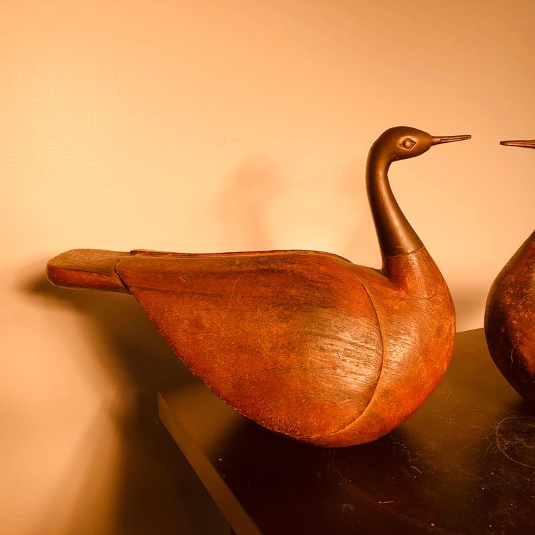 Antique Pair Mandarin Wedding Ducks, Hand Carved with Fine Details In Good Condition For Sale In Shelburne, VT