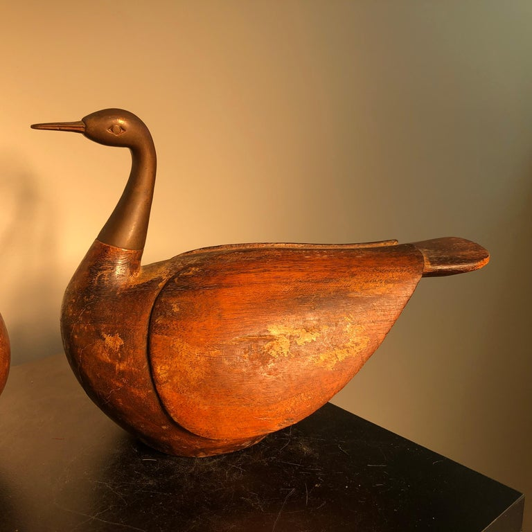 20th Century Antique Pair Mandarin Wedding Ducks, Hand Carved with Fine Details For Sale