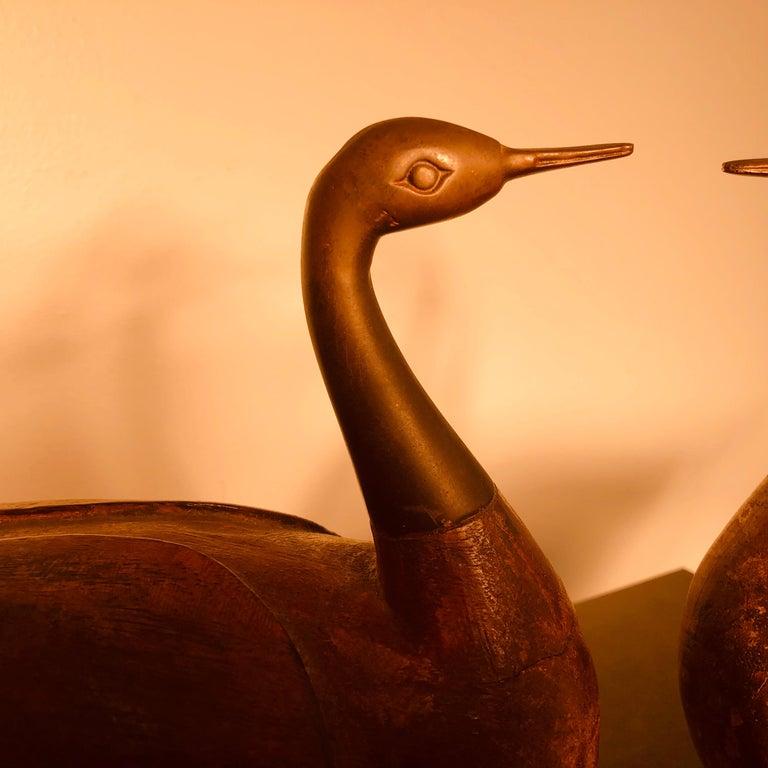 Bronze Antique Pair Mandarin Wedding Ducks, Hand Carved with Fine Details For Sale