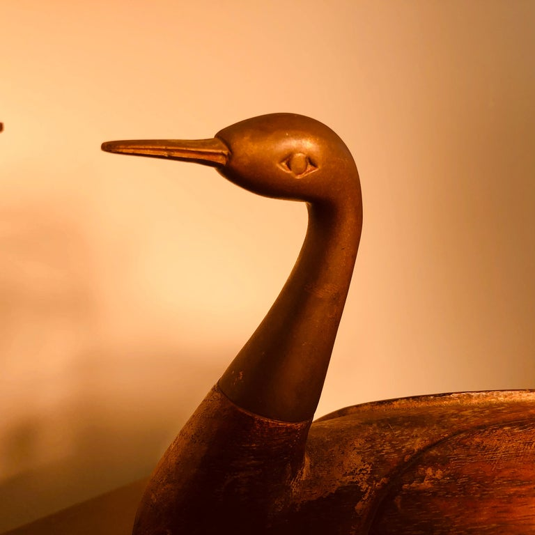 Antique Pair Mandarin Wedding Ducks, Hand Carved with Fine Details For Sale 1