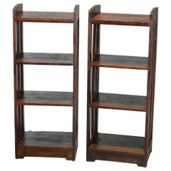 Antique Pair Mission Oak Arts & Crafts Lakeside Crafters Magazine Stands, c1910