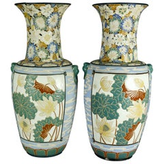 Antique Pair of Monumental Chinese Enameled and Embossed Ceramic Floor Vases