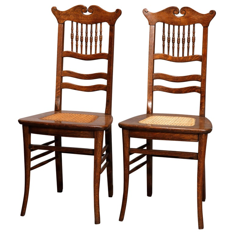 Antique Pair Of Oak Spindle Back And Cane Seat Side Chairs Circa 1900 For Sale At 1stdibs