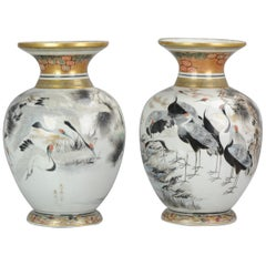 Antique Pair of Japanese Kutani Crane Vases Japanese Satsuma Style Kutani
