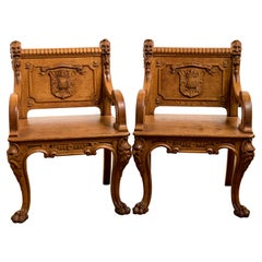 Antique Pair of 19th Century Carved Golden Oak Armorial Chairs / Thrones